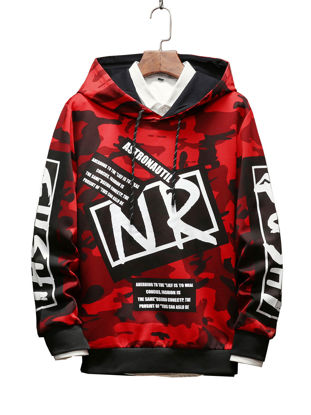 Picture of Men's Hoodie Fashion Color Block Camouflage Patchwork Letter Print Casual Hoodie - Size: M