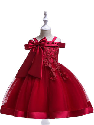 Picture of Toddler Girls Girls' Full Dress Slash Neck Solid Color Bow All Match Design Princess Dress - Size: Reference Height:120cm