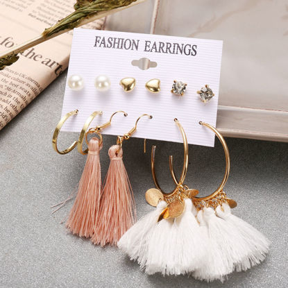 Picture of 6 Pairs Women's Earrings Set Versatile Tassels Earrings Accessory - Size: One Size