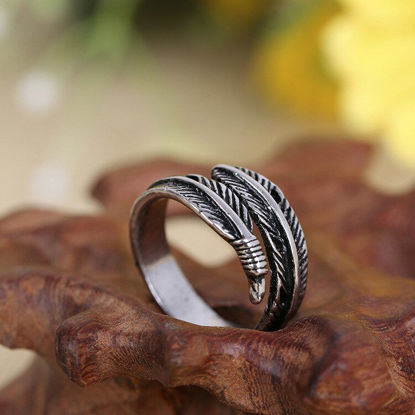 Picture of Men's Ring Exquisite Feather Shape Design Retro Style Accessory - Size: One Size