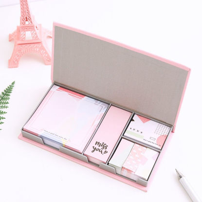 Picture of Cartoon Self-Stick Note Pads Set Assorted Shapes Memo Notes Stationery Gift - Size: One Size