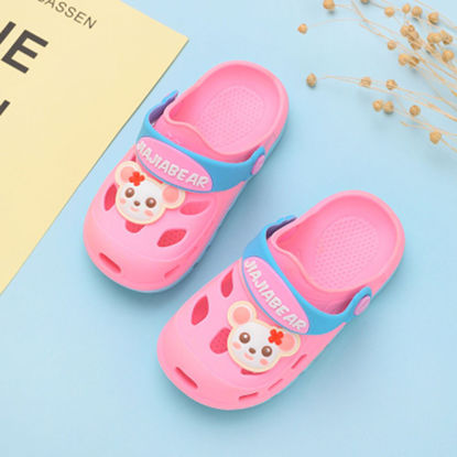Picture of Kid's Slippers Adorable Print Hollow Out Colorblock Shoes - Size: 23