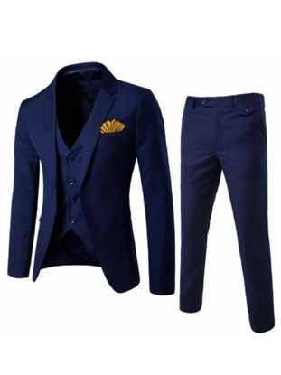 Picture of Men's 3 Pcs Suits Set Long Sleeve Notched Collar Solid Color Suits - Size: L