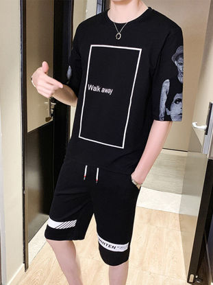 Picture of Men's 2Pcs Clothes Set Half Sleeve Printed Top Casual Shorts Set - Size: XXL