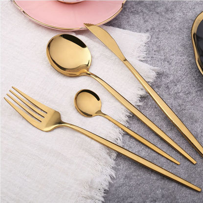 Picture of 4Pcs Stainless Steel Flatware Set Premium Quality Knife Fork Spoons Gift Set - Size: One Size