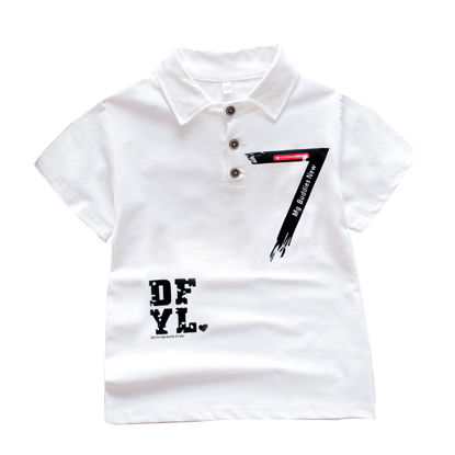 Picture of Kids' Polo Shirt Letter Digital Printed Short Sleeve Comfortable Top - Size: Reference Height:130cm