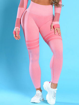 Picture of Women's Leggings Casual High Waist Stripe Slim Hollow Out Leggings - Size: L