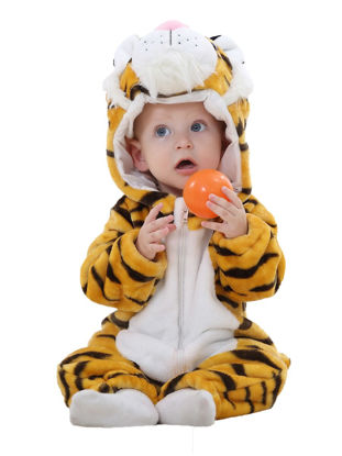Picture of Baby Baby's Jumpsuit Cute Cartoon Tiger Sculpt Long Sleeve Zipper Hooded One-Piece Romper - Size: 110cm