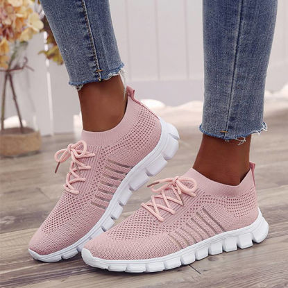 Picture of Women's Sports Shoes Breathable Light Anti-Skidding Mesh Soft Sole Casual Shoes - Size: 39