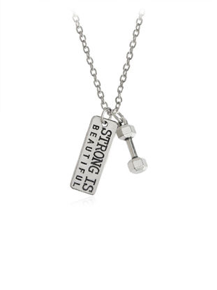 Picture of Men's Necklace Letter Pattern Dumbbell Pendant Creative Accessory - Size:One Size