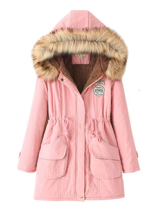 Picture of Women's Quilted Coat Thicken Warmth Hooded Slim Coat - Size:3XL