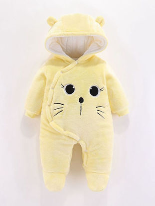 Picture of Baby Baby's Thicken Jumpsuit Cartoon Animal Warm Hooded Romper - Size:73cm