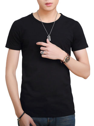 Picture of Men's T Shirt Slim Short Sleeve O Neck Solid Color T Shirt - Size:XXL