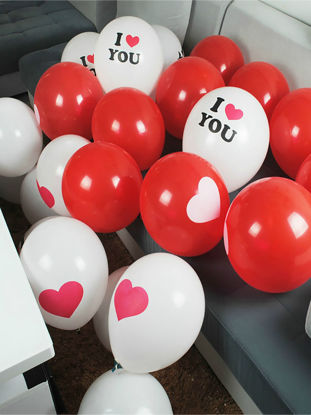 Picture of 100 Pcs Balloons Wedding Ceremony Decoration Love Heart Pattern Party Balloons - Size:One Size