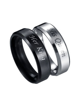 Picture of 2 Pcs Men's Ring Set Stainless Steel Letter Print Fashion Ring Set - Size:7