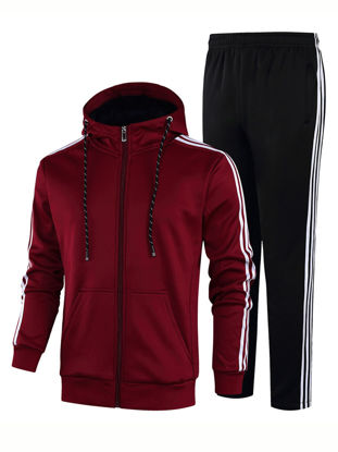 Picture of Zhuowolves Men's 2Pcs Hooded Sports Suits Side Stripe Fleece Long Sleeve Casual Hoodie And Pants - Size:XXL