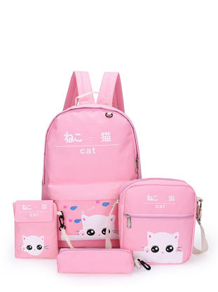 Picture of 4 Pcs Women's Backpack Set Solid Color Zipper Cartoon Pattern School Bags - Size:One Size