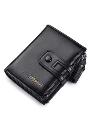 Picture of Men's Purse Retro Portable Multilayer Double Zipper Solid Color Wallet - Size:One Size