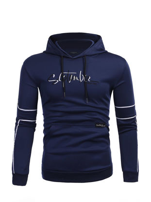 Picture of Men's Hoodie Pattern Print Hooded Long Sleeve Stylish Hoodie - Size:L