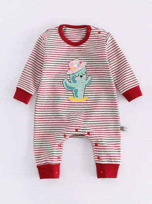 Picture of Baby Baby's Romper Vogue Cartoon Cactus Pattern Long Sleeve Soft Jumpsuit - Size:73cm