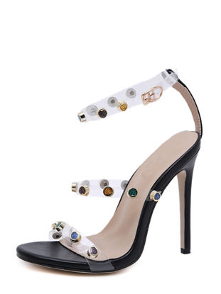 Picture of Women's High Heel Sandals Rivets Thin Heels Party Shoes - Size:37