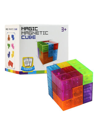 Picture of Kid's 3D Transparent Color Assembling Magic Magnetic Cubes Educational Toys