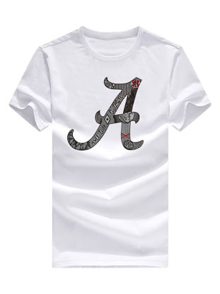 Picture of Men's T-shirt Letter A Print Short Sleeve O Neck Top - Size:XXL