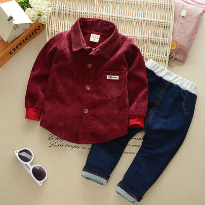 Picture of Toddler Boys Boy's 2Pcs Pants Set Long Sleeve Loose Casual Cute Suit - Size:Reference Height:100cm