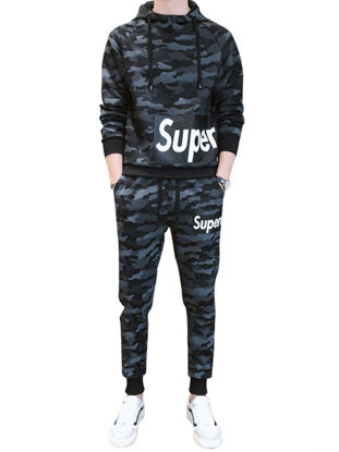 Picture of Men's 2Pcs Letter Camouflage Hoodie Drawstring Jogger Pants - Size:XL
