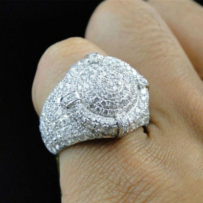 Picture of Men's Ring Exquisite Rhinestone Decor Vintage Accessory - Size:9