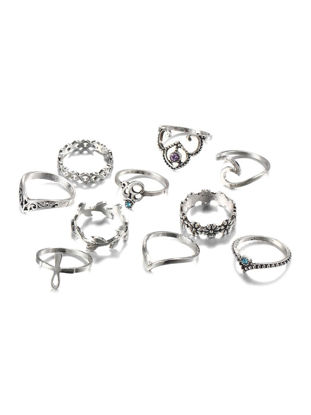 Picture of 10 Pcs Women's Jewelry Set Rhinestones Inlay Vintage Hollow Out Ring Accessory - Size:One Size