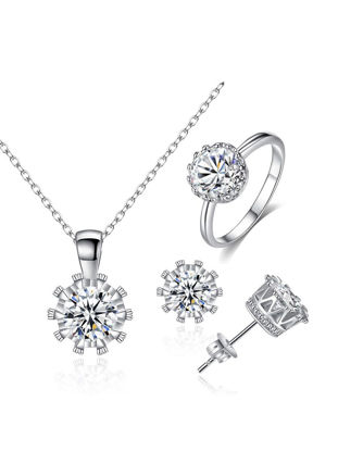 Picture of Women's Necklace Earrings Ring Set Rhinestone Decor Elegant Chic Accessory Set - Size:Free