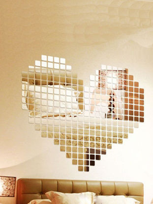 Picture of 100Pcs 3D Mirror Wall Stickers Decal Square Mosaic Room Wall Sticker Home Decor - Size:Free