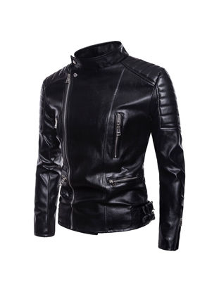 Picture of Men's Synthetic Leather Jacket Plus Size Solid Color Turn Down Collar Fashion Jacket - Size:L