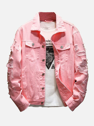 Picture of Men's Casual Jacket Turn Down Collar Long Sleeve Solid Color Embroidery Jacket - Size:L