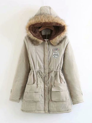 Picture of Women's Quilted Coat Long Sleeve Hooded Thicken Warm Winter Coat - Size:M