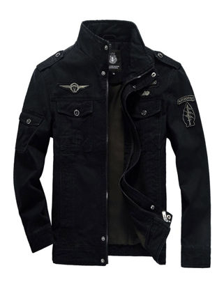 Picture of Men's Casual Jacket Stand Collar Long Sleeve Solid Color Outdoor Slim Jacket - Size:XL