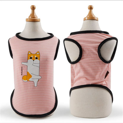 Picture of 1Pc Pet's Vest Cute Sweet Thin Stripe Cartoon Printed Apparel - Size:M