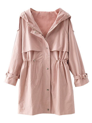 Picture of Women's Trench Coat Hooded Solid Color Zipper Drawstring Outerwear - Size:M