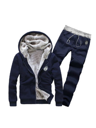 Picture of Men's Hoodie Suits Thicken Warm Hooded Solid Color Cozy Hoodie Sets - Size: XL