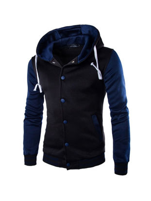 Picture of Men's Hoodie Hooded Long Sleeve Single Breasted Color Blocking Hoodie - Size: L
