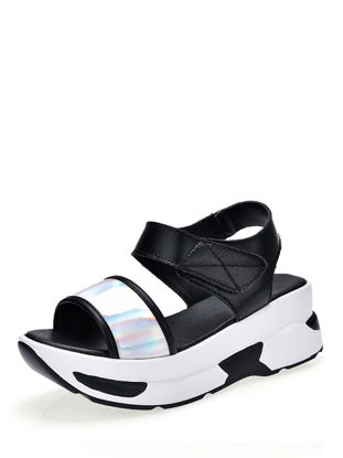 Picture of Women's Sandals Color Block Open Toe Casual Thick Sole Velcro Shoes - Size: 39
