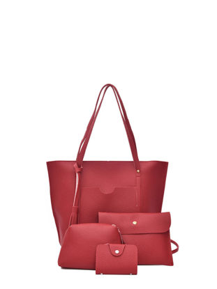 Picture of 4 Pcs Women's Bags Set Solid Color Litchi Pattern Stylish Tote Bag - Size: One Size