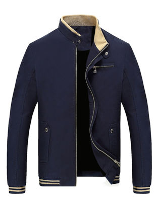 Picture of Zhuowolves Men's Casual Jacket Solid Stand Collar Zipper Opening Fashion Coat - Size: 3XL