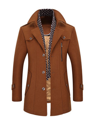 Picture of Men's Wool Blends Coat Solid Color Single Breasted Slim Coat - Size: XXL