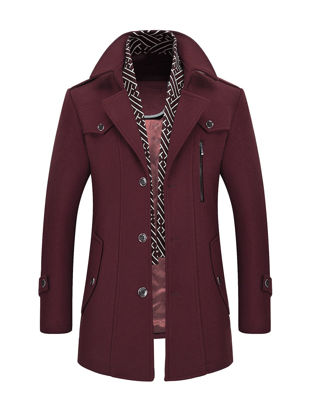 Picture of Men's Wool Blends Coat Solid Color Single Breasted Slim Coat - Size: XL