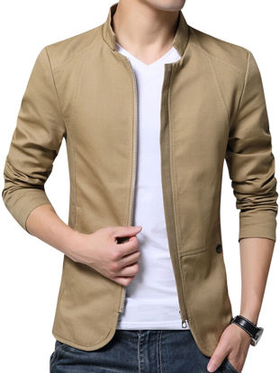 Picture of Zhuowolves Men's Jacket Solid Color Stand Collar Fashionable Casual Jacket - Size: M
