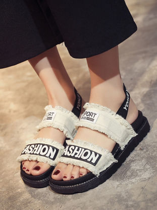 Picture of Women's Sandals Open Toe Letter Thick Sole Comfy Casual Trendy Shoes - Size: 38