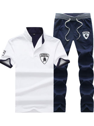 Picture of Men's 2Pcs Set Stand Collar Short Sleeve Polo Shirt Casual Pants Set - Size: M