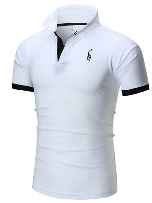Picture of Men's Sports T-Shirt Turn Down Collar Embroidery Pattern Thin Top - Size: L